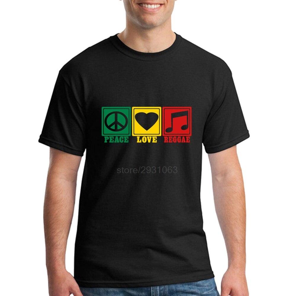 Design t shirt reggae - Cheap Cotton Mens T Shirts Tshirt Personality Men S Peace Love Reggae O Neck Interesting T