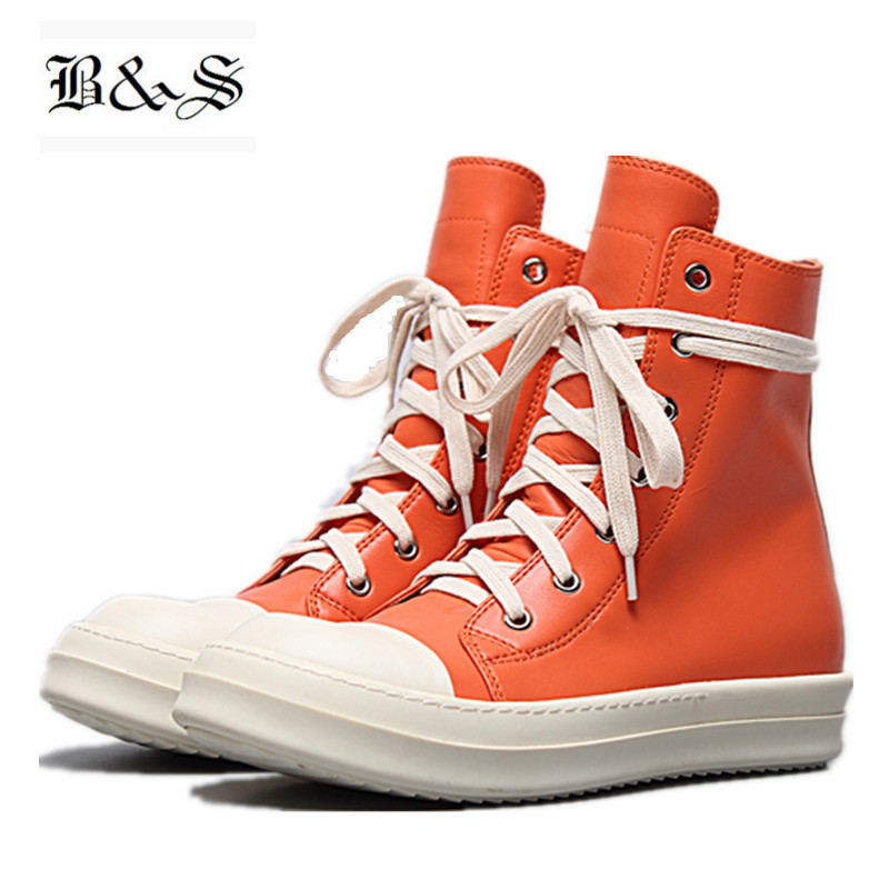 Black& Street genuine Leather Lace Up yellow and white High Top Qaulity Trainer Sneaker Boots Leisure Flat Shoes