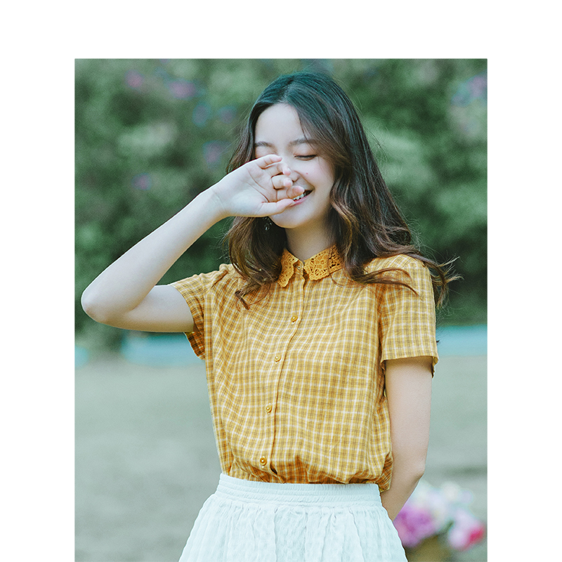 INMAN 2019 Summer New Arrival Turn Down Collar Literary Plaid Retro Casual All Matched Short Sleeves Women Shirt