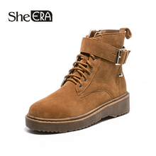 New Fashion Women Boots Black/Brown Ankle Round Toe Zip Buckle Classic Shoes She ERA