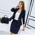 2017 Fashion Womens  Business Suit Long Sleeves Single Button Design Sexy Mini Skirt Suit 3color
