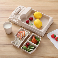 Creative Bamboo fiber baby train shape Dinnerware plate Tray cartoon shatter resistant cute Cup lunch box children's rice bowl