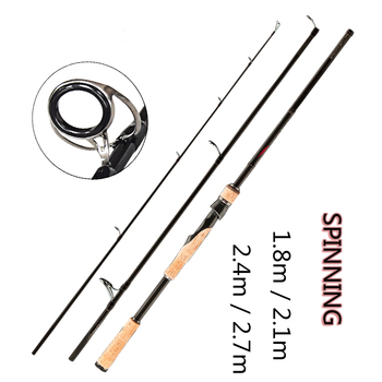 FX 1.8m-2.7m Fishing Rod Spinning Casting Travel Ultra Light 3 Section Fishing Lure Rod Vara De Pesca ML/M/MH HARD