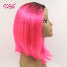 Shiny Heat Resistant Pink Bob Wig Cosplay Anime Hair For Female Fashion Cute Short Haircuts Ombre Synthetic Lace Front Wig