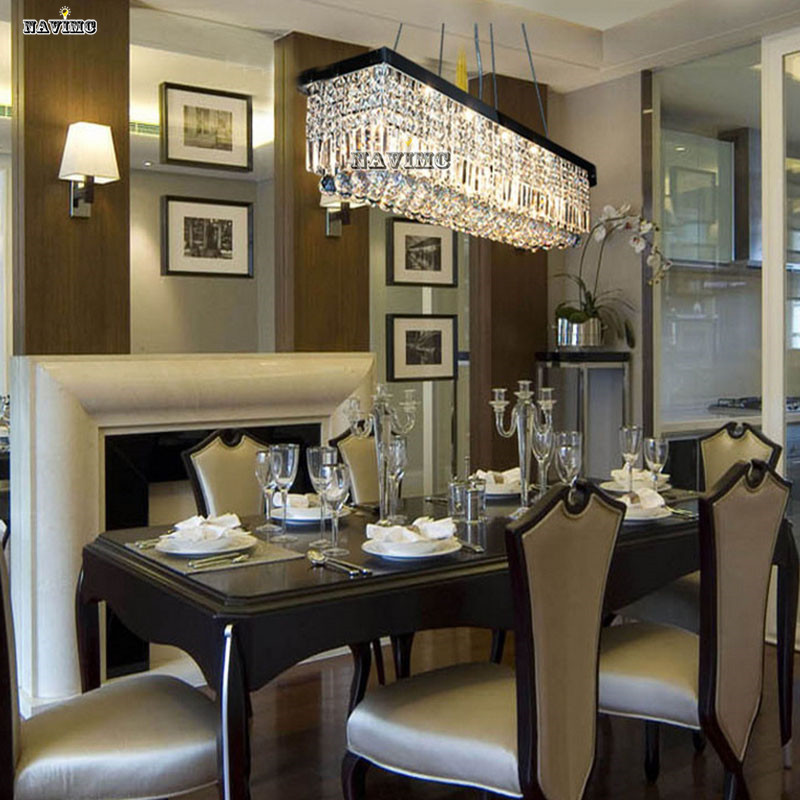 Modern Luxury Crystal Chandelier LED Light Fixture Lamp Square Shape - Crystal chandelier in dining room