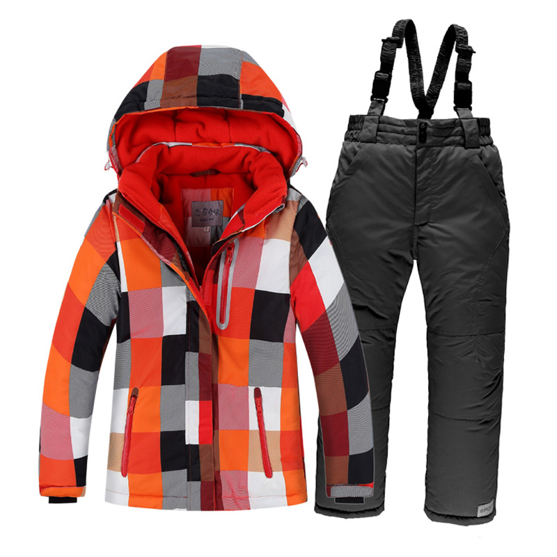Russian Winter Children Ski Suit Boys Windproof Waterproof Ski Jackets+Bib Pants 2pcs Set Boys Clothing russian