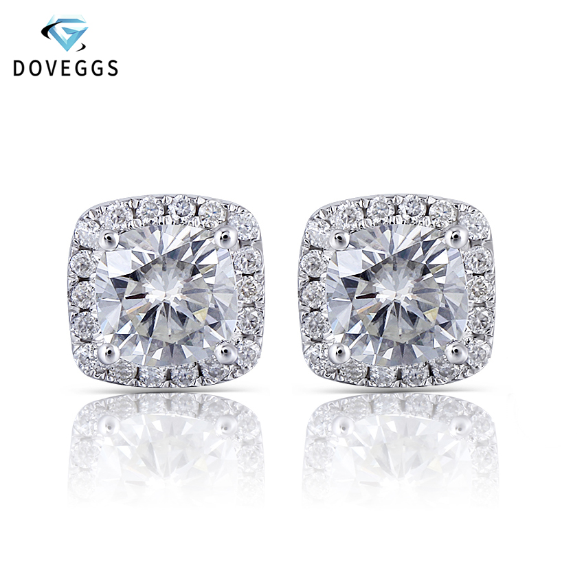 DovEggs Platinum Plated Silver 2 26CTW 6 6mm HI Color Cushion Moissanite Halo Stud Earrings for