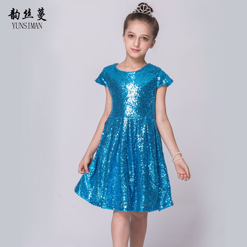 Girls Dresses 2 4 6 8 Years Blue Sequined Girls Princess Party Dress ...