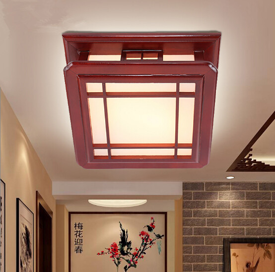Chinese style antique solid wood red frame ceiling lights Rural nostalgic minimalist acryl Led lamp for parlor&bedroom MF013