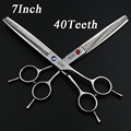 Black Knight 7 inch Professional pet hair scissors hairdressing Barber dog grooming Thinning shears