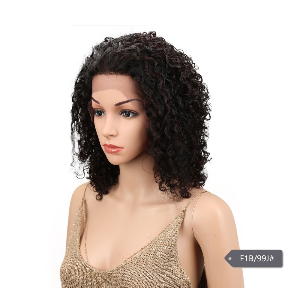 HTB1S.b.erZnBKNjSZFrq6yRLFXas Sleek Lace Front Human Hair Wigs For Black Women Brazilian Ombre Curly human hair Wig Wet and wavy Wig Curly Lace Front wig