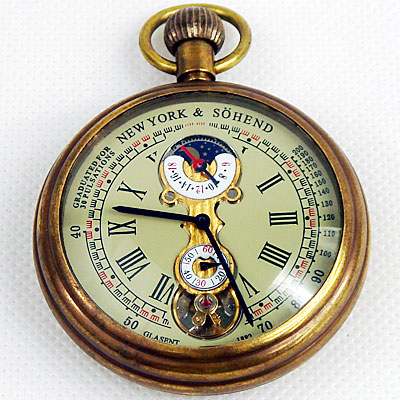 1882'S NY Tourbillon pure copper antique pocket watch