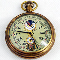 1882'S NY Tourbillon pure copper antique pocket watch