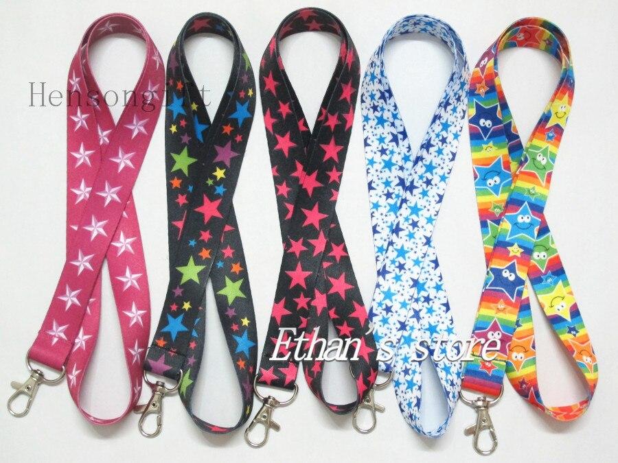 bilder für Mädchen Stern Muster Schlüsselanhänger Lanyard Sterne Neck Straps Mix Color Viele