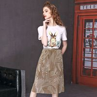 Europe American Style New 2018 Summer Women's Fashion 2 Piece Set Female Casual Animal Printing Elastic Waist Ankle Length Skirt