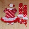 4PCs per Set Baby Girls Polka Dots Tutu Dress Big White Flower Headband Shoes Leggings for 0-12months