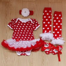 4PCs per Set Baby Girls Polka Dots Tutu Dress Big White Flower Headband Shoes Leggings for 0-12months