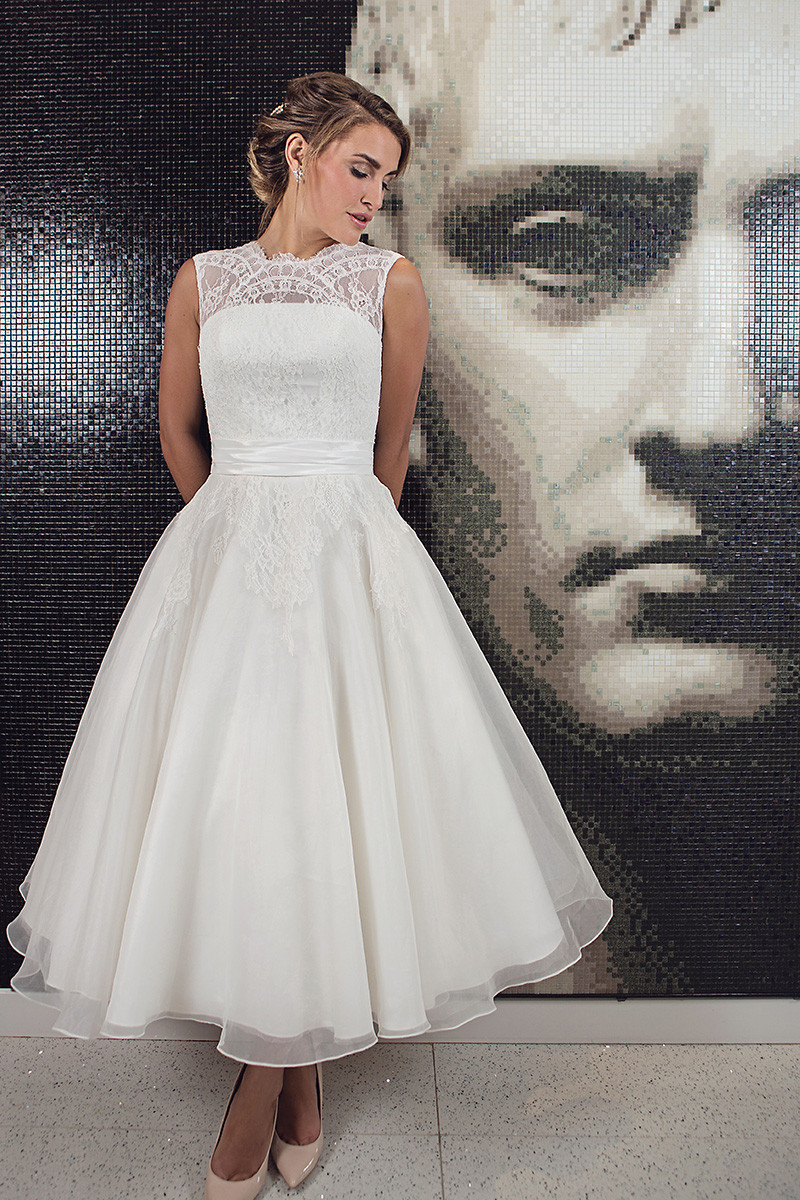 chiffon tea length sweetheart a line wedding dress with gathered tapered straps t length wedding dresses Elegant Ivory Lace Tea Length Wedding Dresses Sheer Backless