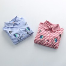 Детская блузка для девочек; топы с длинными рукавами; детская одежда; рубашки в полоску с вышитым рисунком; милая одежда для маленьких девочек