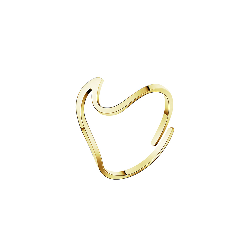 Beach Surf Wave Rings For Women Men Anillos Mujer Minimalist Jewelry Stainless Steel Silver Rose Gold Color Adjustable Midi Ring Profit Small