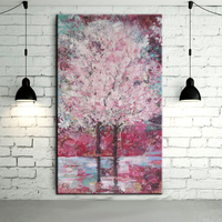 Free Shipping High Quality Sakura Tree Oil Painting For Wall Decorative Modern Abstract Sakura Canvas Painting For Decoration