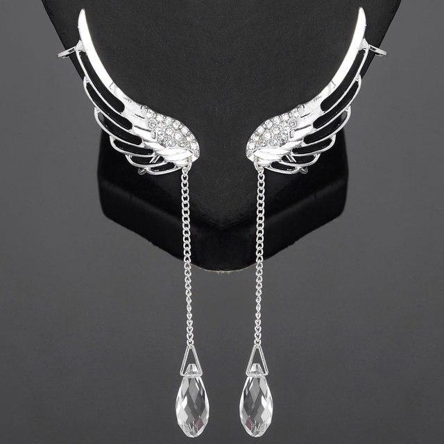 2018 Hot Ing Fashion Crystal Rhinestone Wing Ear Cuff Earrings Long Silver Angel