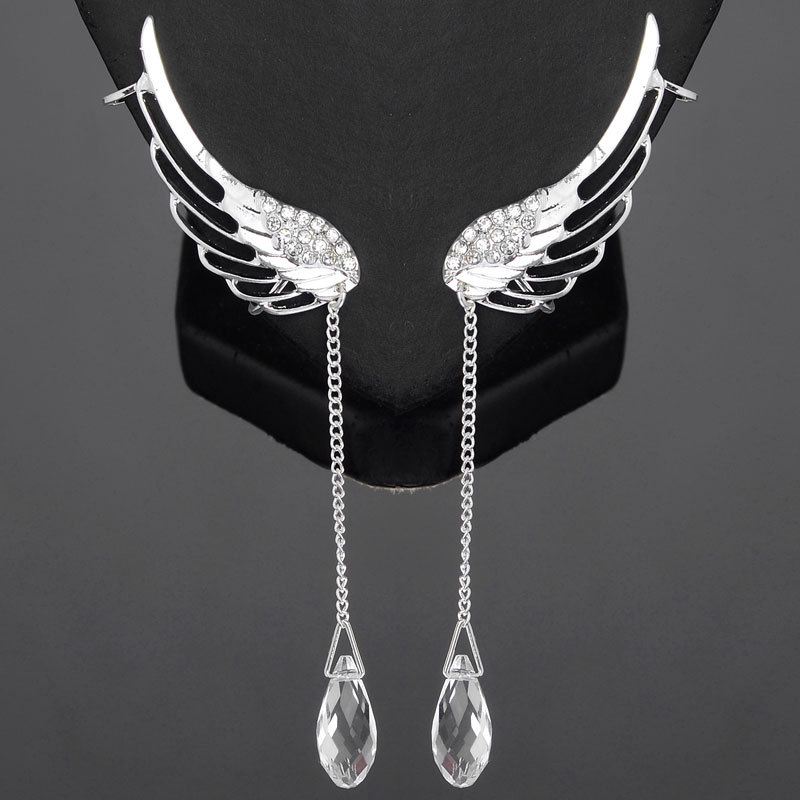Us 2 51 15 Off Hot Ing Fashion Crystal Rhinestone Wing Ear Cuff Earrings Long Silver Angel Clip Earcuffs For Women In