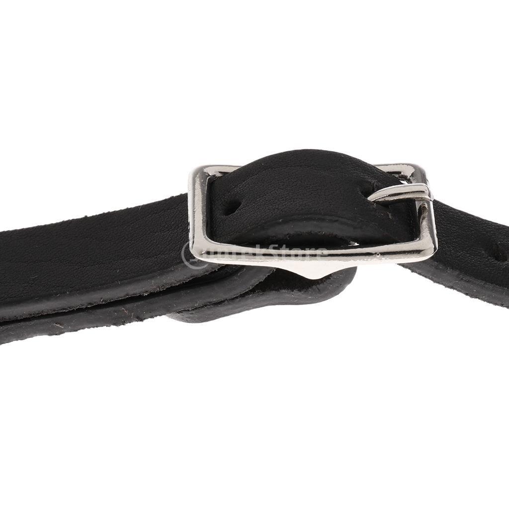 2pcs Adjustable 22cm Equestrian Horse Riding Leather Spur Straps Brown/Black