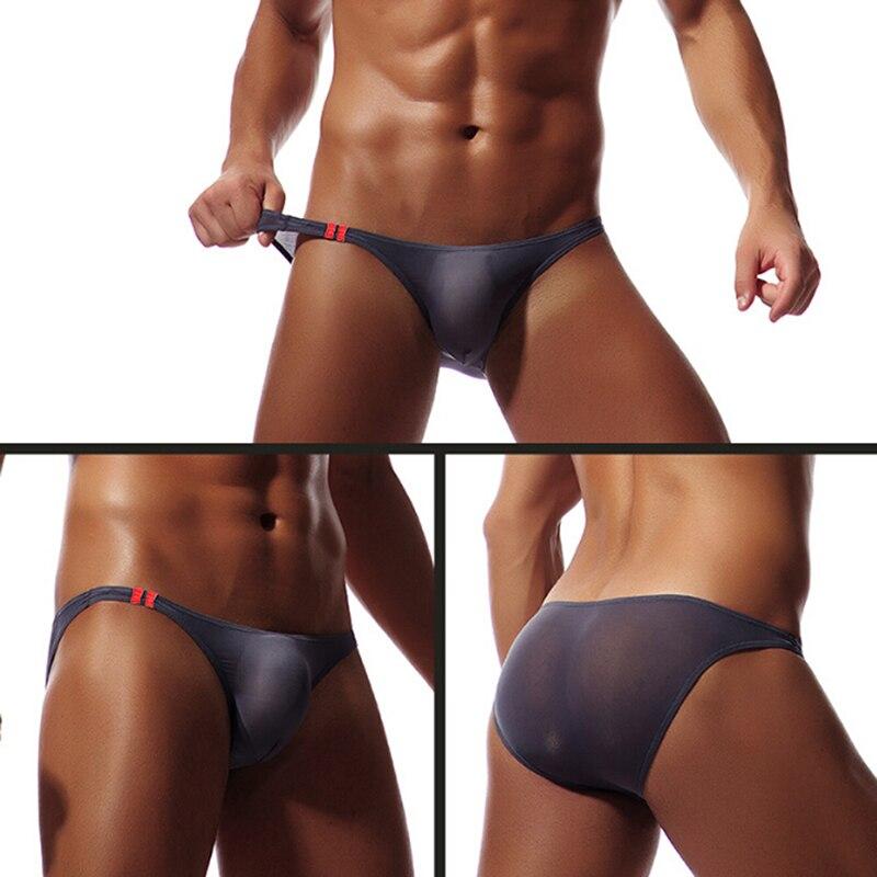 Men's Smooth Soft Sheer Briefs Breathable Ultra Thin Underwear Summer Mini Bikini Underpants U Convex Underwear 8 Colors
