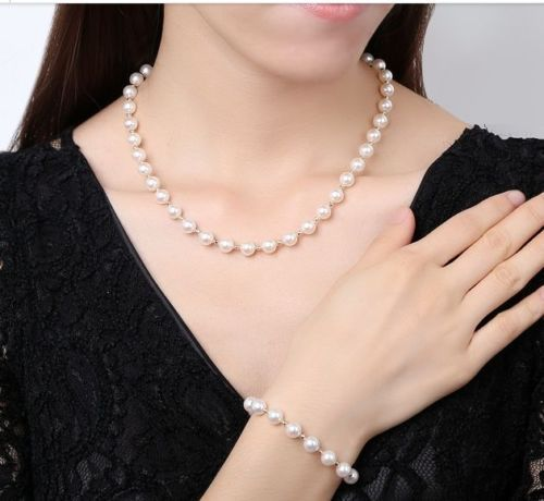 """19"""" classic ++ 5.5-6 mm round south sea white pearl necklace 18""""&bracelet 7.5-8"""" (0926)"""