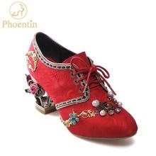 Phoentin red wedding shoes flower metal heels lace-up crystal bridal shoes  handmade women pumps ad9b6e5e50e0