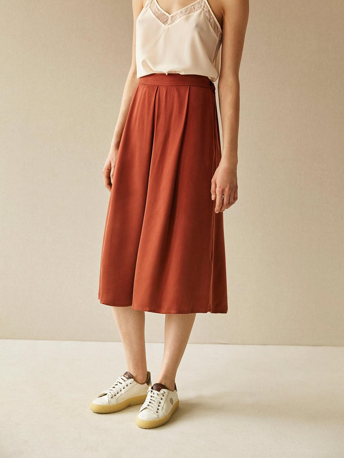 Women Pleated Mid Skirt Cupro New 2019 Spring and Autumn Elastic waist French Style Brand Casual