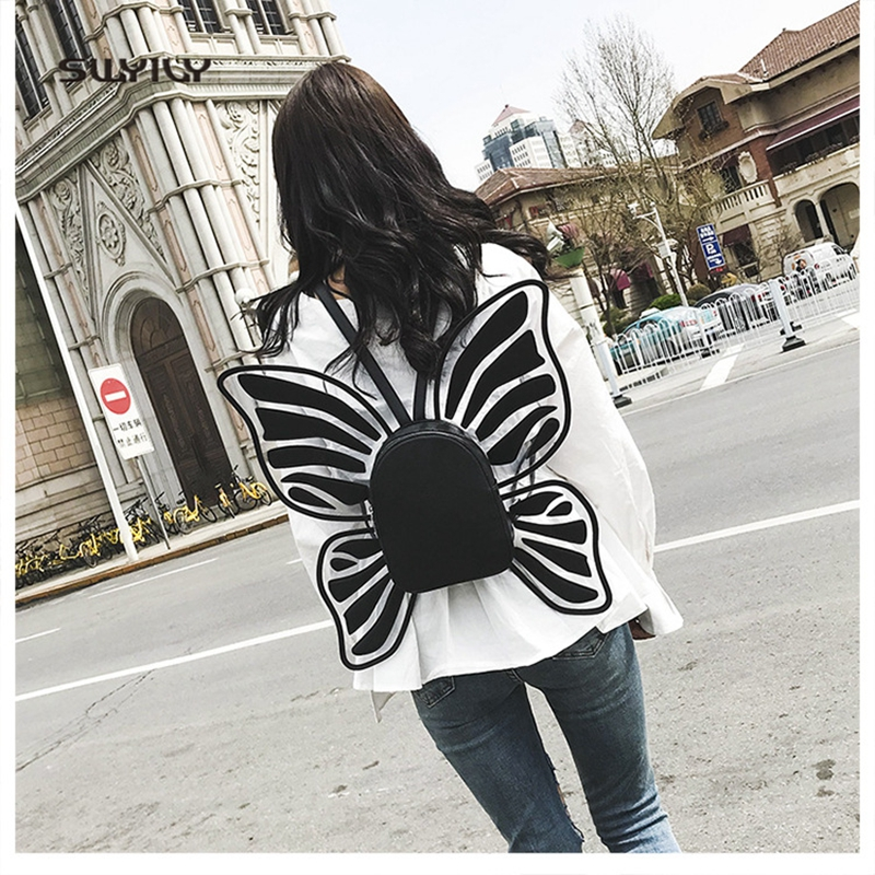 SWYIVY Womens Backbag Bow Wing Solid Color 2018 New Spring Travel Shoulder Bag Girl Fashion Backbag PU Leather Butterfly Bag
