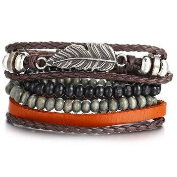Vintage Multilayer Leather Bracelet for Men Bracelets Jewelry Men Jewelry New Arrivals Metal Color: FDY1090