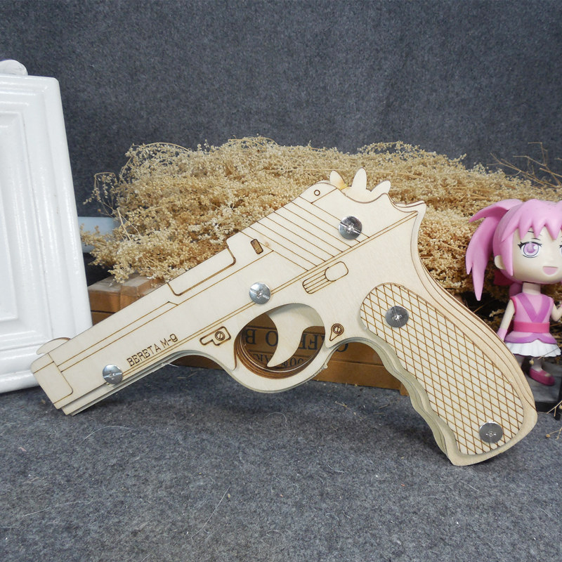 DIY Laser Cutting 3D Rubber Band Gun Model Wooden Puzzle Game Assembly Toys Pistol Guns Shoot Rubber Band Bullets Toy For Boys in Puzzles from Toys Hobbies