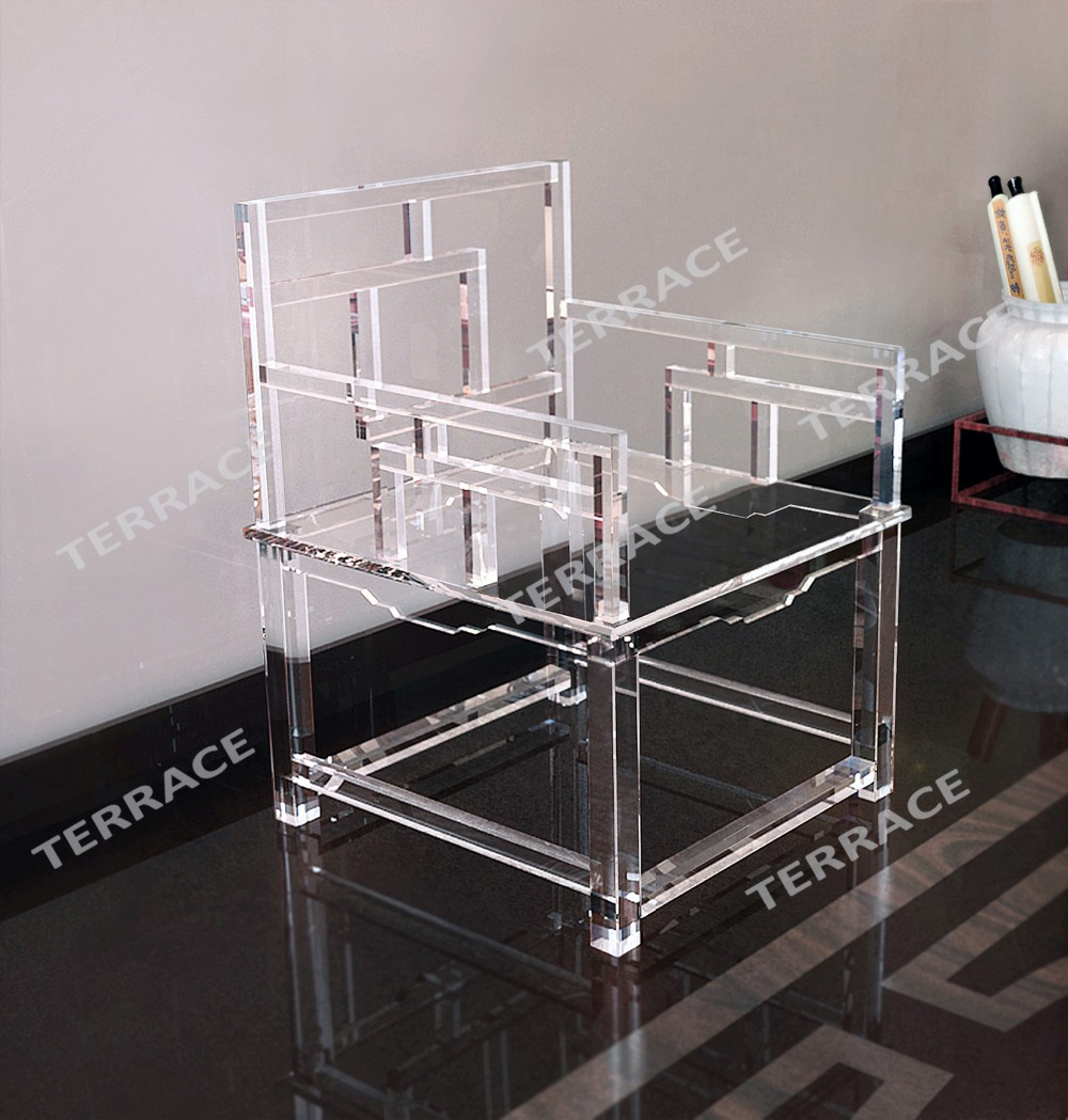 Gentil Clear Acrylic Empire Chinese Chair,Lucite Arm Chairs
