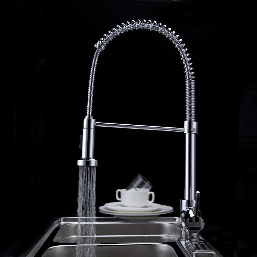 Wall Mount Pull Down Spring Chrome Brass Kitchen Faucet Hot and Cold Chrome Spray Water Tap Mixer Sink Stainless Steel CH-8003 kitchen chrome plated brass faucet single handle pull out pull down sink mixer hot and cold tap modern design