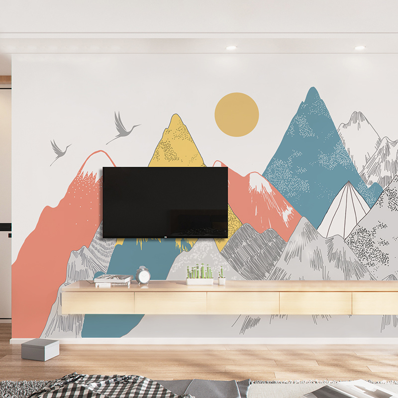 Image 3 - Creative Colored Mountains Sunset Pattern Wall Stickers Woodland  Tribal Living Room Wall Decal Vinyl Art Wallpaper DecorationWall  Stickers