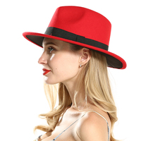 9dc7d136dc Fashion Polyester Cotton Red Black Wide Brim Fedora Hats For Festival Women  Ladies Wool Felt Jazz