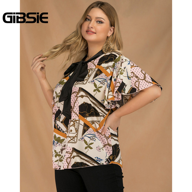 GIBSIE Plus Size Elegant Bow Tie Neck Butterfly Sleeve Blouse Women 2019 Summer Office Lady Casual Mixed Print Shirt Top Female 5
