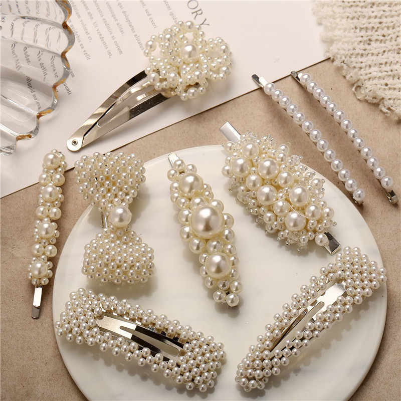 Modyle Korea Pearl Barrettes with Bowknot for Women Ladies Elegant Jewelry Hairgrips Valentine's Day Hair Pins Hair Accessories