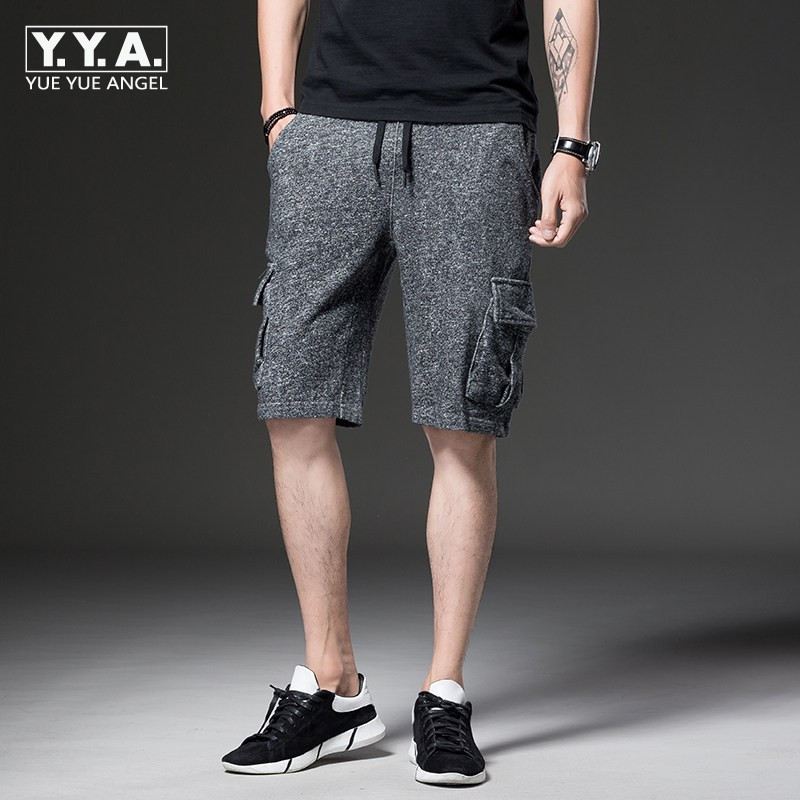 2018 Summer New Shorts Men Pocket Loose Fit Casual Short Pants Cotton Solid Elastic Waist Short Trousers Hombre Knee Length ...