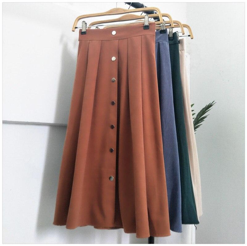 e79406449 1798 falda delgada Retro sección delgada en el párrafo largo 2 falda  paraguas de cintura alta deerskin Cachemira una palabra faldas