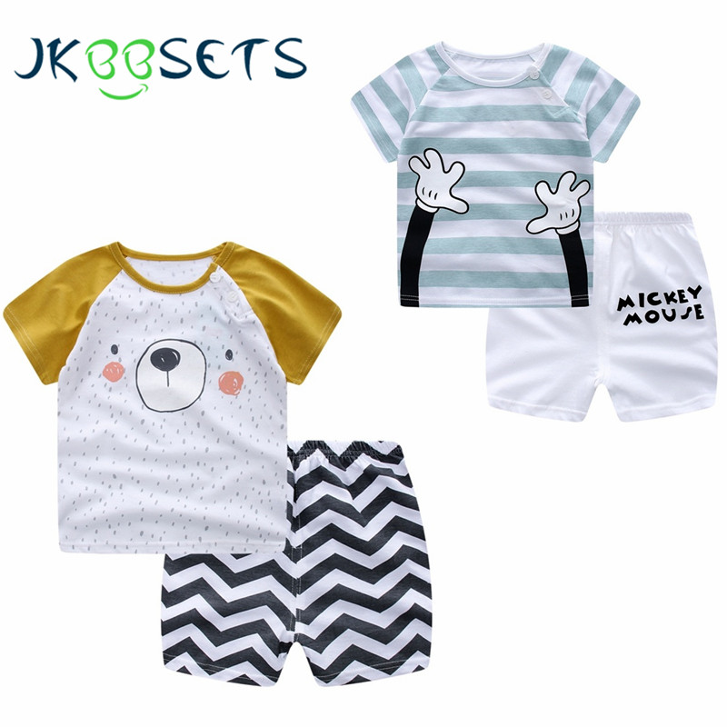 Animals Cotton Children cartoon Baby Boys clothes set kids Clothing Hands suit bear t shirt+Pants 2Pcs/set