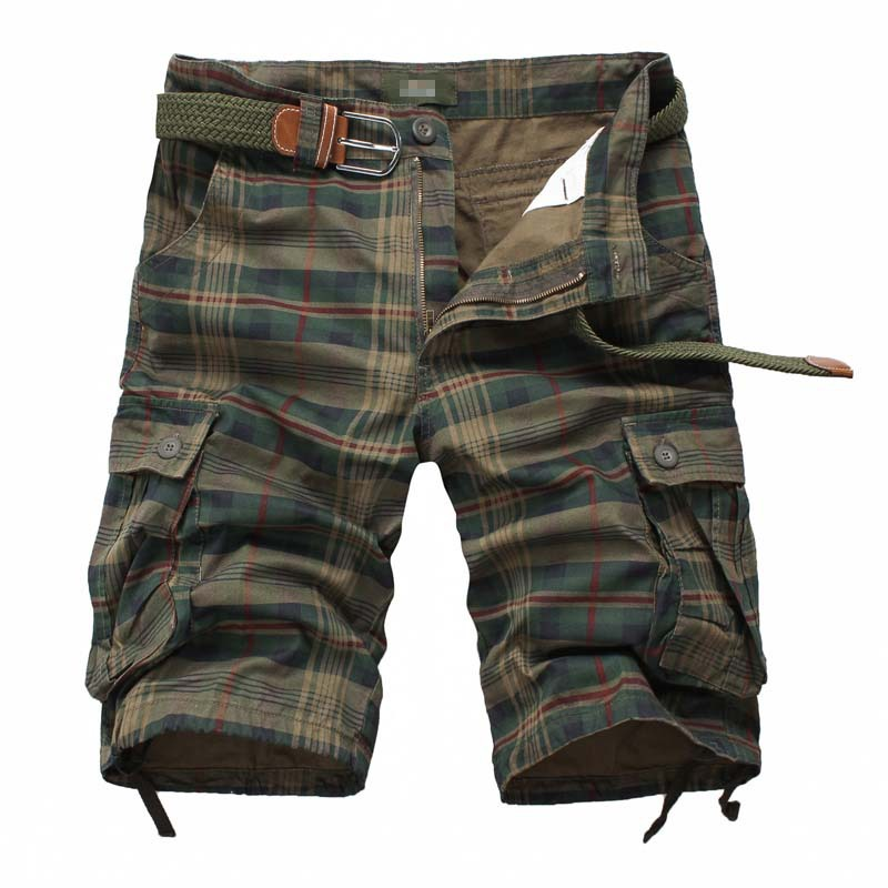 2019 Summer Men Cargo Shorts Sporty Cotton Multi Pockets Plaid Hip Hop Shorts For Men Short Bermuda Masculina Army Military