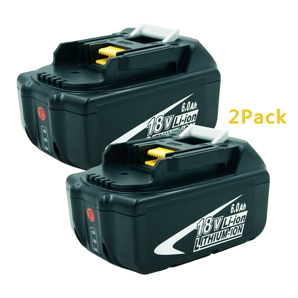 2PCS 18V 6000mAh Power Tool Li-ion Battery for Makita 18V Drills 194309-1 BL1815 BL1830 BL1840 BL1850 LXT400 LED Indicator bl1830 tool accessory electric drill li ion battery 18v 3000mah for makita 194205 3 194309 1 lxt400 18v 3 0ah power tool parts