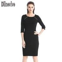 Yeni stil Kadın 2 satır fermuar dekore moda Kılıf kalem Elbise 3/4 Kollu Siyah Yeşil ofis bodycon Elbise 249 çalışmak Giyin