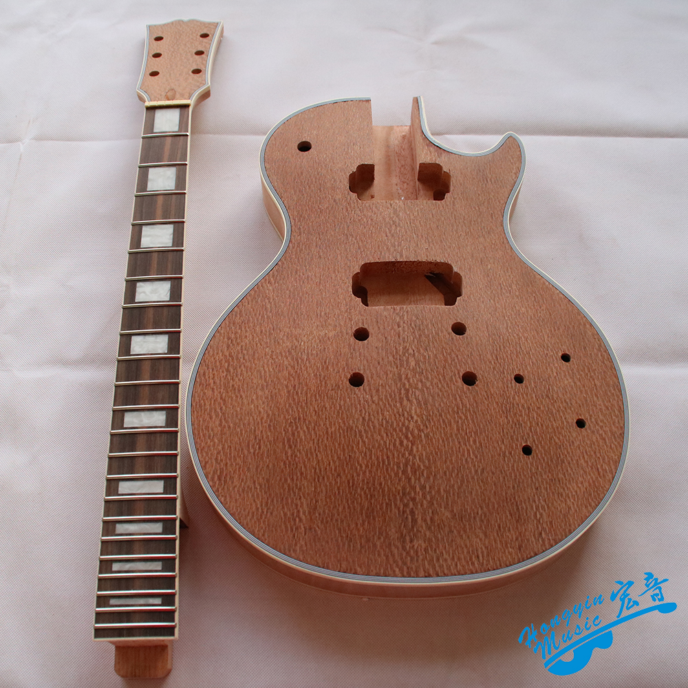 LP Style Electric Guitar DIY Kit Set 3A Grade African Pearl Veneer African Mahogany Okoume Body Neck Rosewood Fingerboard white tiger pattern 3a grade maple veneer lp style electric guitar diy kit african mahogany okoume body neck rosewood fretboard