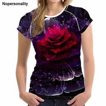 f79f108a79a6 Nopersonality/Модная женская футболка, топы, футболки, 3D Яркая футболка с  цветочным ...