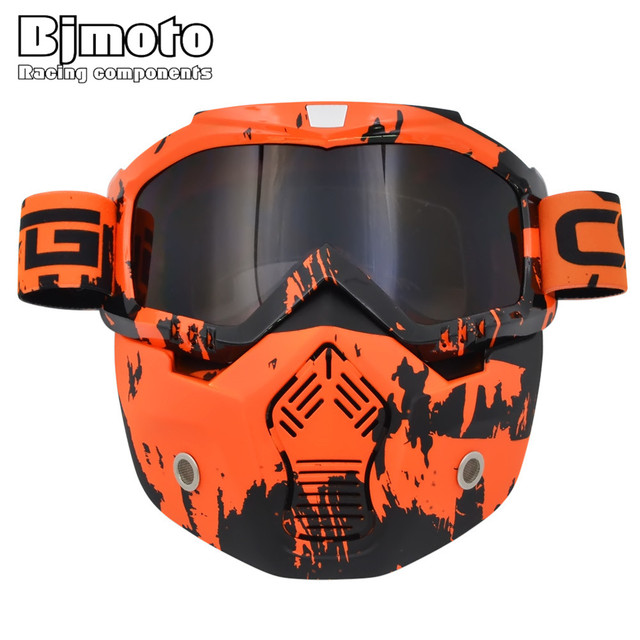 8ba98a3b777f9 Vintage visage casque masque amovible Motocross lunettes Scooter Jet  casques lunettes masque Motocross lunettes soleil Ski